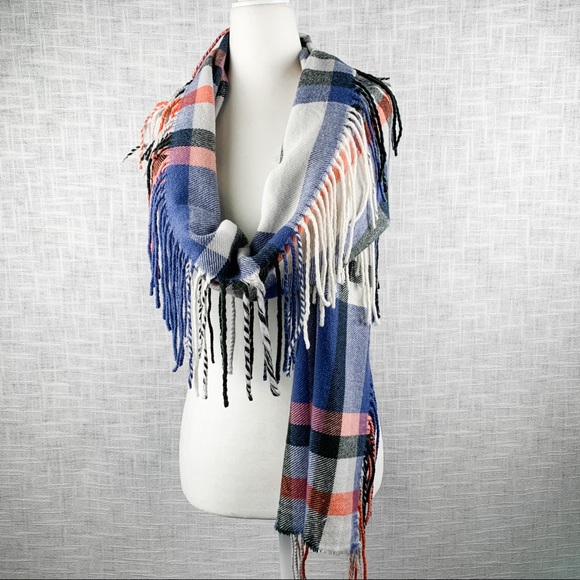 American Eagle Outfitters large plaid fringe scarf
